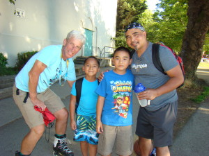 Fellow skaters and b-ballers Thomas, Jose and Dad