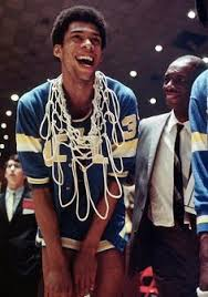 UCLA all the way!!! Kareem-Abdul Jabbar (then known by his birth name of Lew Alcindor), UCLA Center under John Wooden; National Champion
